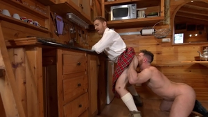 Men of UK: Jonas Jackson in kilt gagging in the kitchen